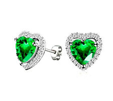 18K White Gold GP Green Crystal Heart-shaped Mother's Gift Earring Studs