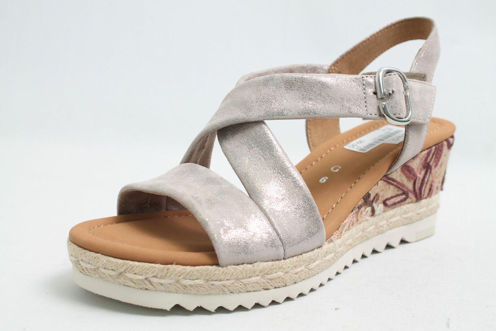 Gabor Sandalen grau Metall Effekt echt Leder Klettverschluss Schuhweite G Damen