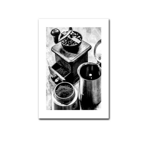 Coffee Wine Bread Kitchen Poster Black White Drink Food Canvas Wall Art Print