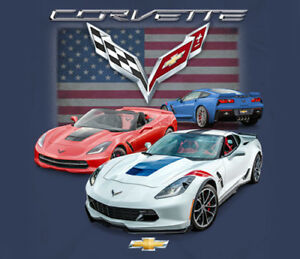 GM-Chevrolet-Corvette-C7-Gransport-With-Flag-BLUE-Adult-Shirt