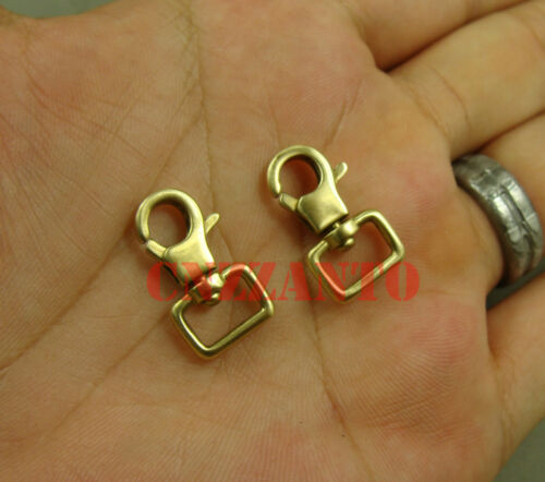 2pcs Laiton Massif Mini Snap Hook Clip Homard Fermoirs Trigger Clé Pivotant Eye KC143