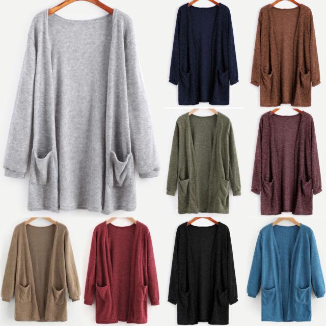 Women Ladies Long Sleeve Cardigan Loose Baggy Sweater Knit Outwear Jacket Coat