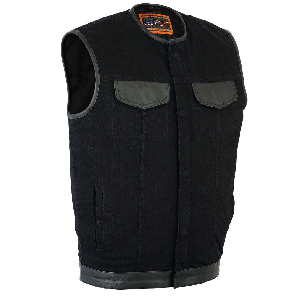 Herren Denim Motorcycle Vest without collar, Motorcycle Club Vest, Denim Vest