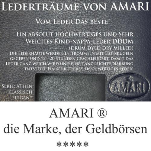 AMARI kleine Herrenbörse RFID-Blocker Rindnappaleder Portemonnaie Geldbeutel