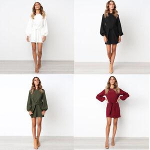 2019 Autumn Winter New Womens Mini Dress Ladies Casual Party Short