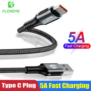 Floveme Braided 5A Fast Charging Sync Data Cable Cord For Samsung S10 Huawei P30