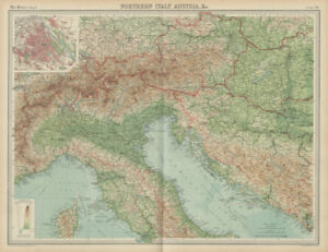 Map Of Northern Italy And Austria.Northern Italy Austria Yugoslavia Eastern Alps Hungary Vienna