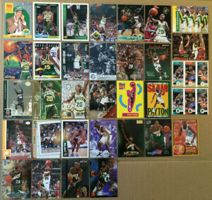 Gary-Payton-LOT-of-39-Rookie-RC-inserts-base-NM-cards-1990-1998-HOF-Sonics-gold