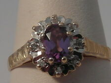 74G LADIES 9CT GOLD AMETHYST AND DIAMOND CLUSTER RING SIZE P 1/2