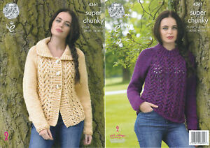 d21c3b94c Ladies Super Chunky Knitting Pattern King Cole Lace Effect Cardigan ...