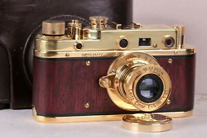 Leica D.R.P. Camera Vintage rangefinder Film Lens Leitz Elmar 50mm Gold