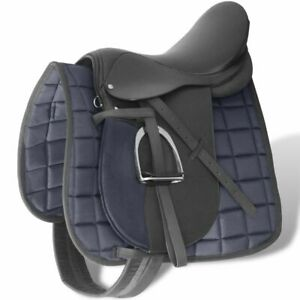 Horse-Riding-Saddle-Set-17-5-034-Real-leather-Black-12-cm-5-in-1