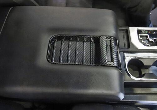 Carbon Fiber Inner Armrest Storage Box Cover Trim For Toyota Tundra 2014-2019