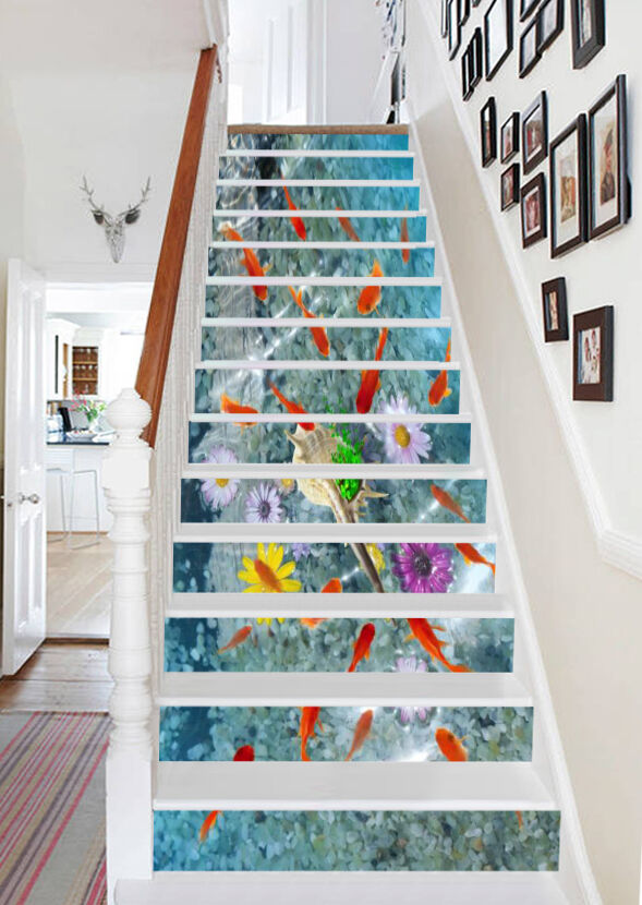 3D Fish And Flowers 8246 Risers Decoration Photo Mural Vinyl Decal Wallpaper CA