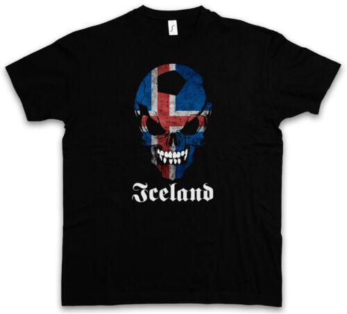 CLASSIC ICELAND FOOTBALL SOCCER SKULL FLAG T-SHIRT Fußball Fan Hooligan Banner