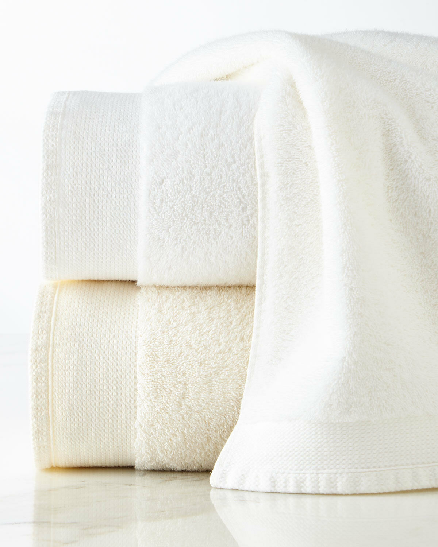 NEW SFERRA 2 Pc SET ASHEMORE Hand Towel s White TURKISH Terry 640 GSM LUXURIOUS