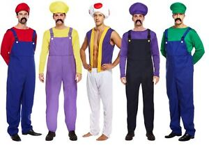 Mens Super Mario Bros Luigi Wario Waluigi Mushroom Workman ...Waluigi And Wario Costumes
