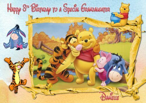 Personnalisé Carte d/'anniversaire Winnie l/'ourson fils fille petite-fille-Petit-fils