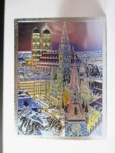 Muenchen-Rathaus-Magnet-Premium-Souvenir-Germany-Metallic-Laser-Optik