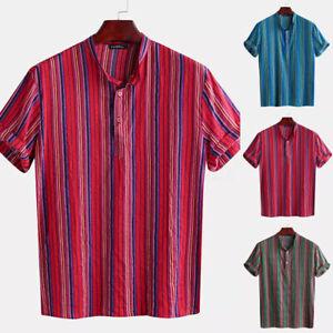 Incerun-para-Hombre-Manga-Corta-Camisa-a-rayas-Cuello-Abuelo-Vintage-Escote-en-V-Prendas-para-el