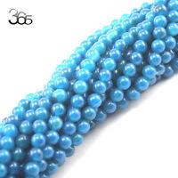 "Jewelry Making Craft 6mm Round Gemstone Blue Agate Beads 15""  Strand"