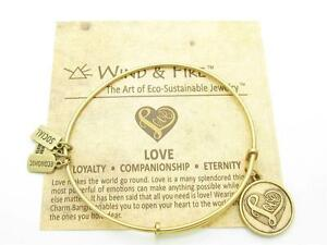 Wind-and-Fire-Love-Heart-Charm-Wire-Bangle-Stackable-Bracelet-Made-In-USA-Gift