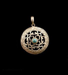 A Sospensione Tibetano Mandala Con Turchese Ciondolo Tibet Buddista 5589 K90