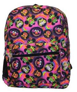 "The Muppets 16"" Backpack Faces Kermit Ms Piggy Animal, New"