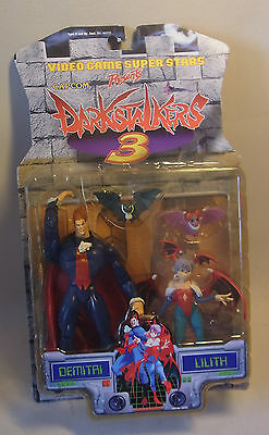 Vintage 90s Capcom Darkstalkers 3 DEMITAI & LILITH Action Figures Toy Biz 1998