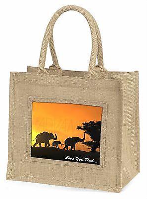 Elefanten 'Liebe dich Papa' Stimmung' Große Natürliche Jute-einkaufstasche,