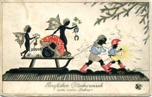 uralte-AK-Herzlichen-Glueckwunsch-zum-neuen-Jahr-Schattenrisskarte