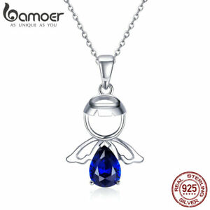 BAMOER-Cute-S925-Sterling-silver-Necklace-Lovely-Angel-Pandent-For-Lady-Jewelry