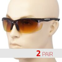 2 Pair Sport Wrap Hd Night Driving Vision Sunglasses Yellow High Definition Brow