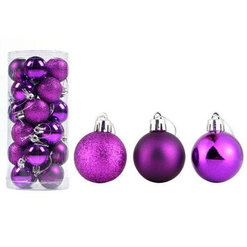 24pcs Glitter Christmas Baubles Xmas Tree Ornament Hanging Ball Decor 4//6cm