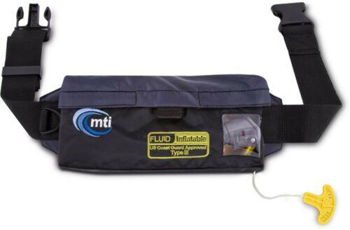 MTI Fluid Inflatable Belt Pack PFD Life Jacket Black CO2 Pull Lifejacket