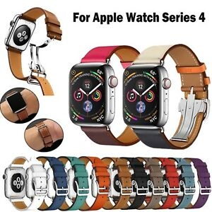 Genuine-Leather-Band-Deployment-Buckle-Single-Tour-Strap-for-Apple-Watch-4-3-2-1