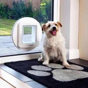 Cat-Dog-Microchip-Flap-Pet-Entry-Door-Window-Wall-Large-Cats-Small-Dogs-White