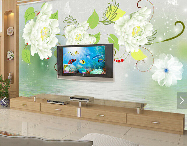 3D Weiß Flowers 552 Wallpaper Murals Wall Print Wallpaper Mural AJ WALL AU Kyra