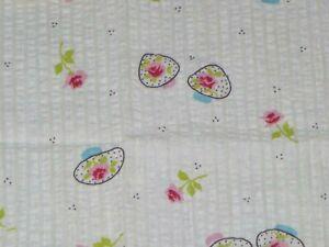 Vtg-Cotton-Seersucker-Fabric-MOD-Pink-Roses-Motif-24-034-x-1-5-yds