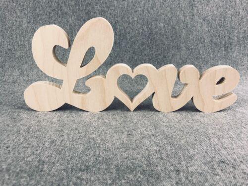 Herz Holz LOVE YOU Liebe Schenken Dekorieren Basteln Malen Freunde //N72// 10 Stk