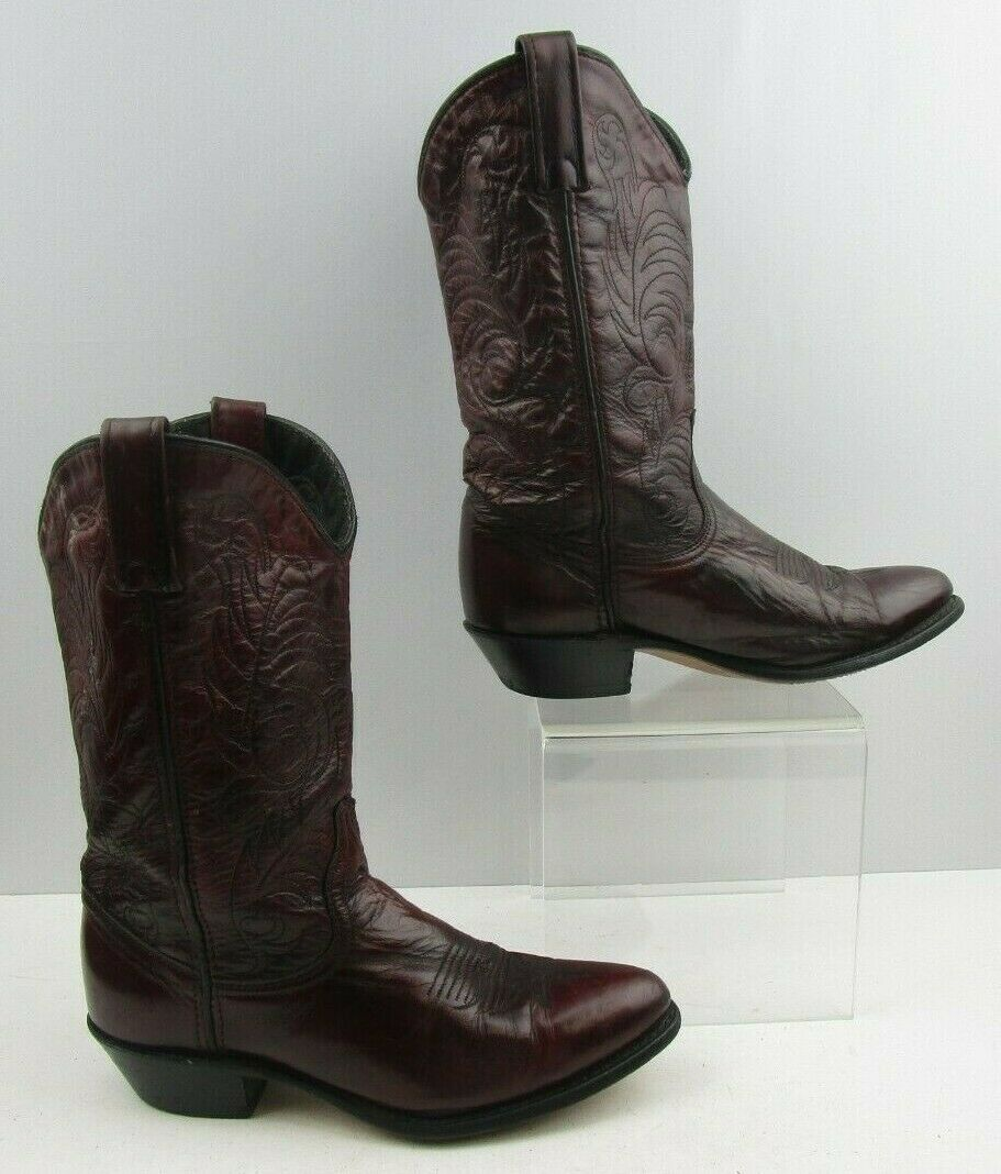 Ladies Acme Burgundy Leather Western Cowgirl Boots Size   7.5 M