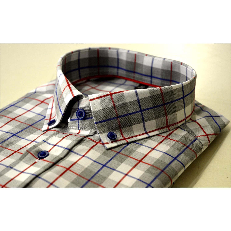 Eterna, alla moda a quadri-Camicia Con Button Down Collare