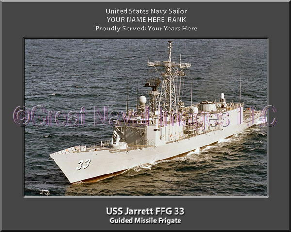 USS Jarrett FFG 33 Personalized Canvas Ship Photo Print Navy Veteran Gift