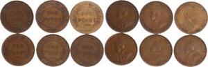 Australia-6-Monete-uno-Penny-1916-1934-Ss-Ss-27204