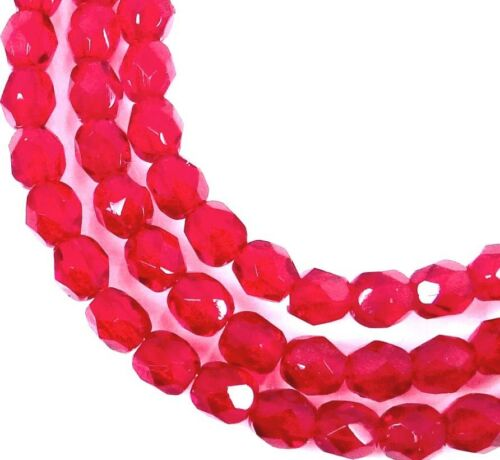 Siam Ruby 4mm 50 Firepolish Czech Faceted Round Beads