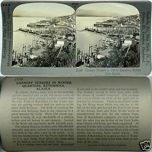 Keystone-Stereoview-of-CANNERY-TENDERS-Ketchikan-ALASKA-From-600-1200-Card-Set