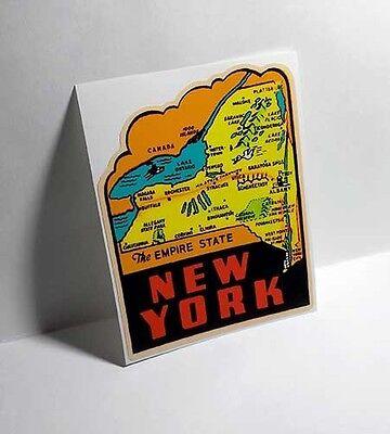 New York State Vintage Style Travel Decal / Vinyl Sticker, Luggage Label