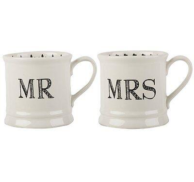 MR and MRS MUGS Gift SET of 2 Ceramic WHITE Black