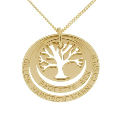 SOLID 9CT YELLOW GOLD PERSONALISED TREE OF LIFE DOUBLE DISC PENDANT CHAIN OPTION