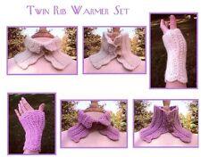 Easy Knit Twin Rib Warmer Set - Dawn Brocco Knitting Pattern #70 Wrist & Neck